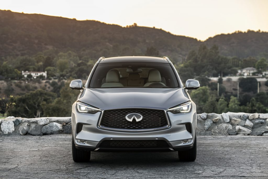 An image of a 2021 Infiniti QX50 parked outside.