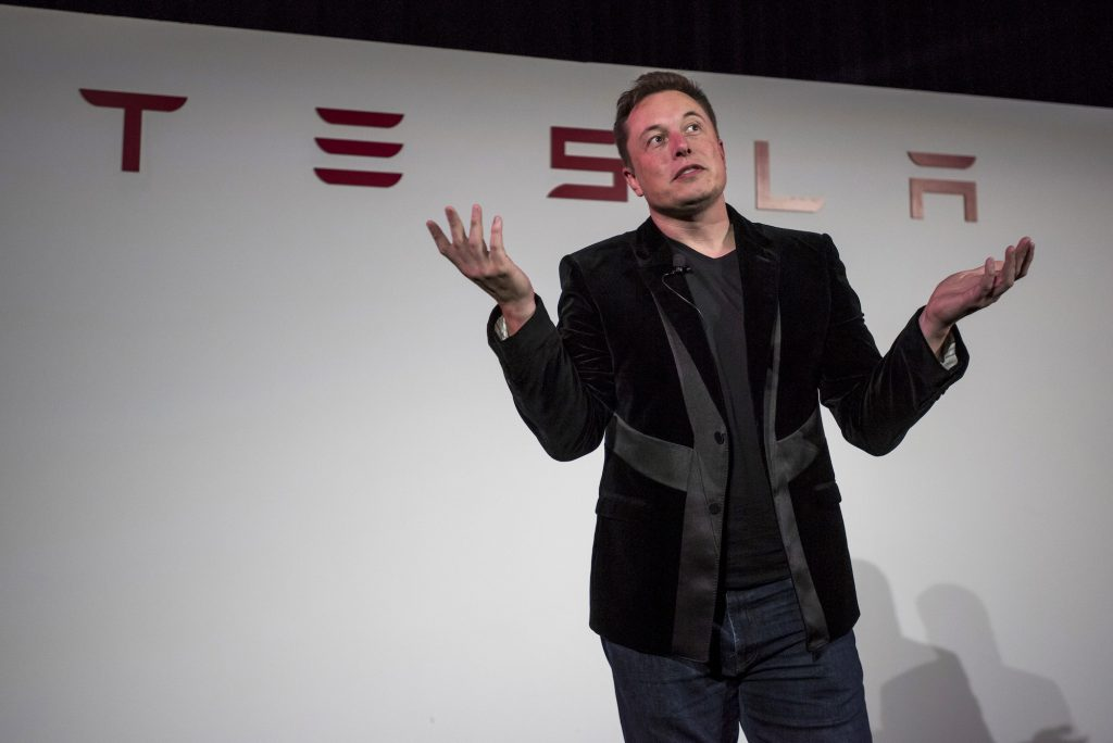 Elon Musk, chairman and chief executive officer of Tesla Motors, speaks during a press conference prior to unveiling the Model X SUV during an event in Fremont, California, on September 29, 2015.