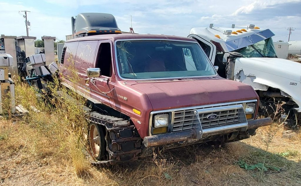 Ford Van Monster Tank abandoned in field