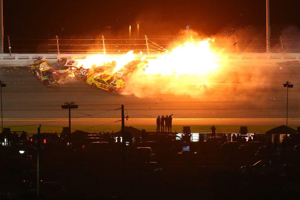 An image of a massive crash happening at the Daytona 500 NASCAR race.