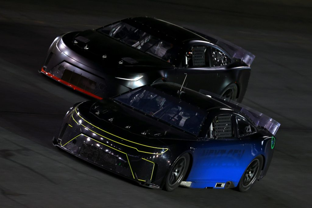 An image of NASCAR's next-gen car testing on a racetrack.