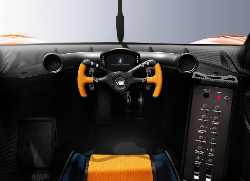 The carbon-fiber-heavy black-and-yellow interior of the Gordon Murray T.50s Niki Lauda