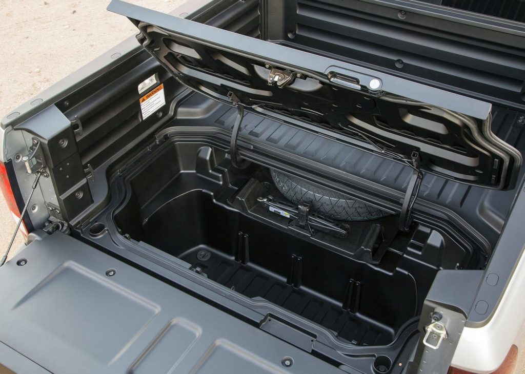 2017 Honda Ridgeline in-bed storage compartment