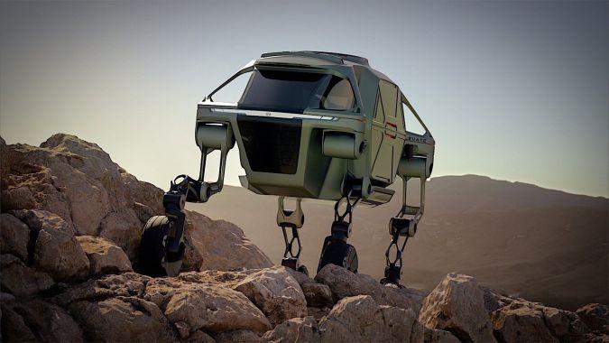 Hyundai TIGER autonomous robot concept traveling over alien terrain