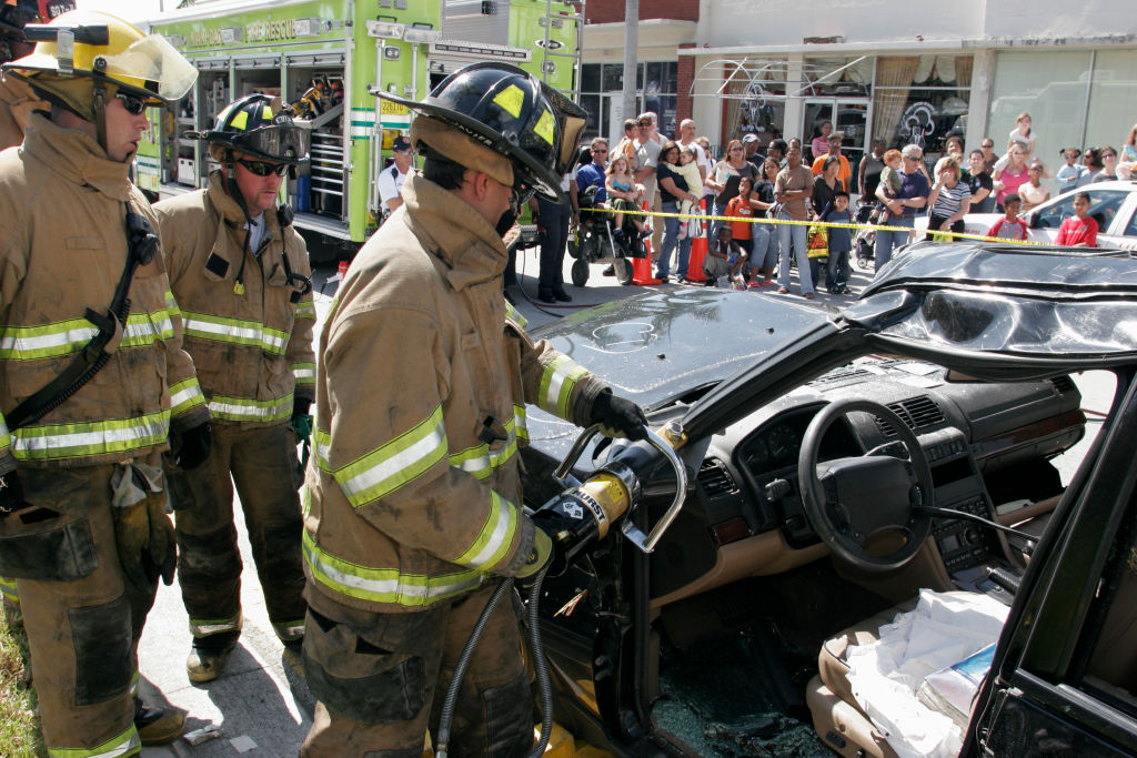 Jaws of life in fireman's hands