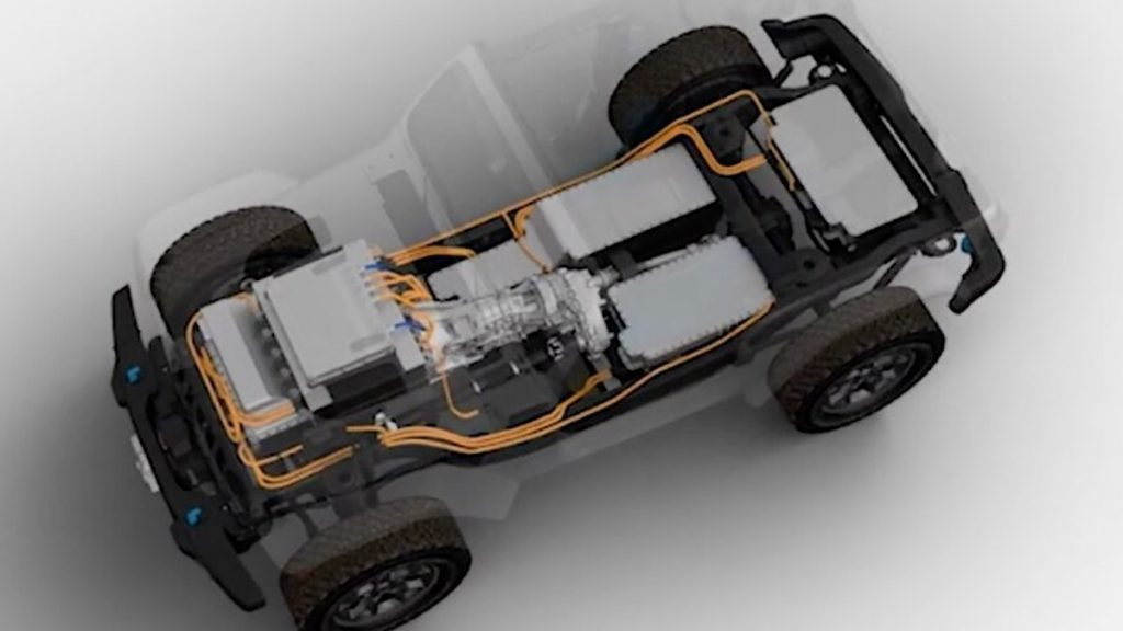Teaser image of all new Jeep Wrangler BEV concept truck for the Easter Jeep Safari