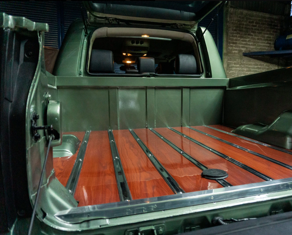 Inside the bed of the Land Rover custom pickup