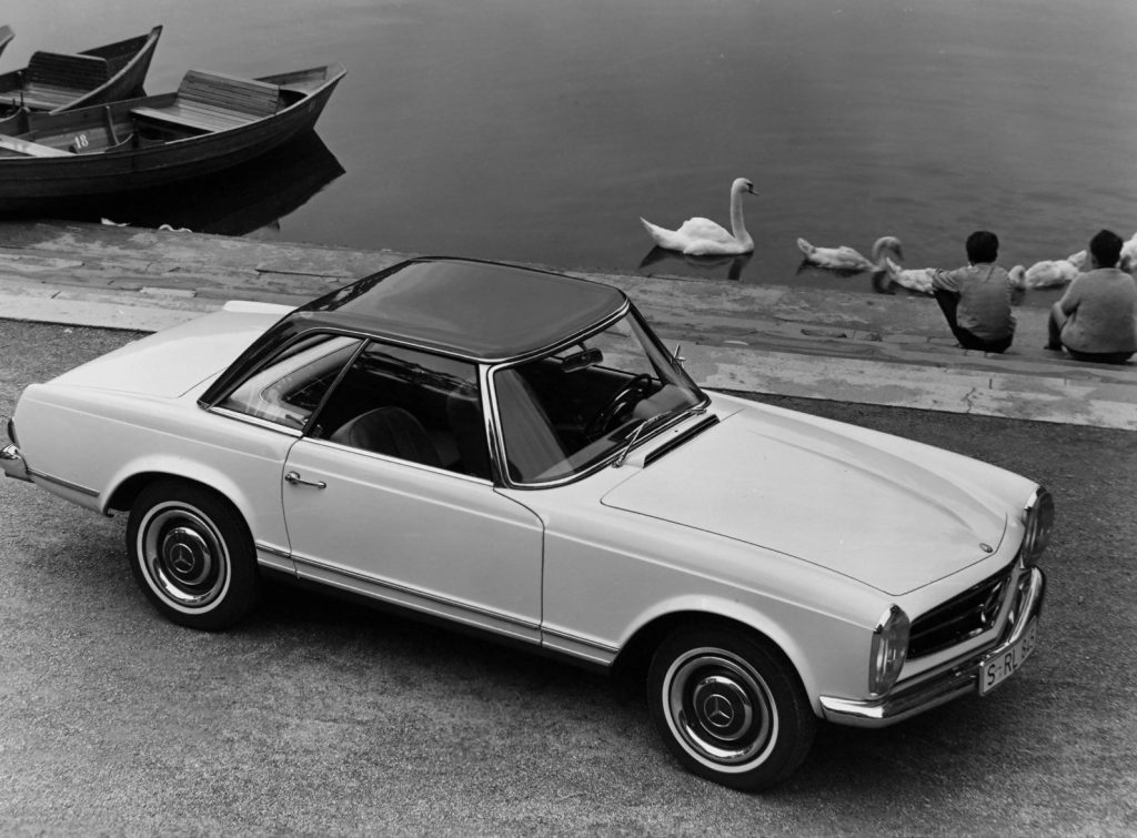 An image of a Mercedes-Benz 230 SL parked outdoors.