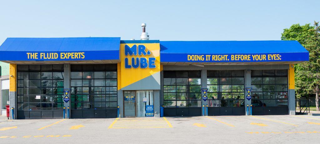 A bright blue Mr. Lube auto shop