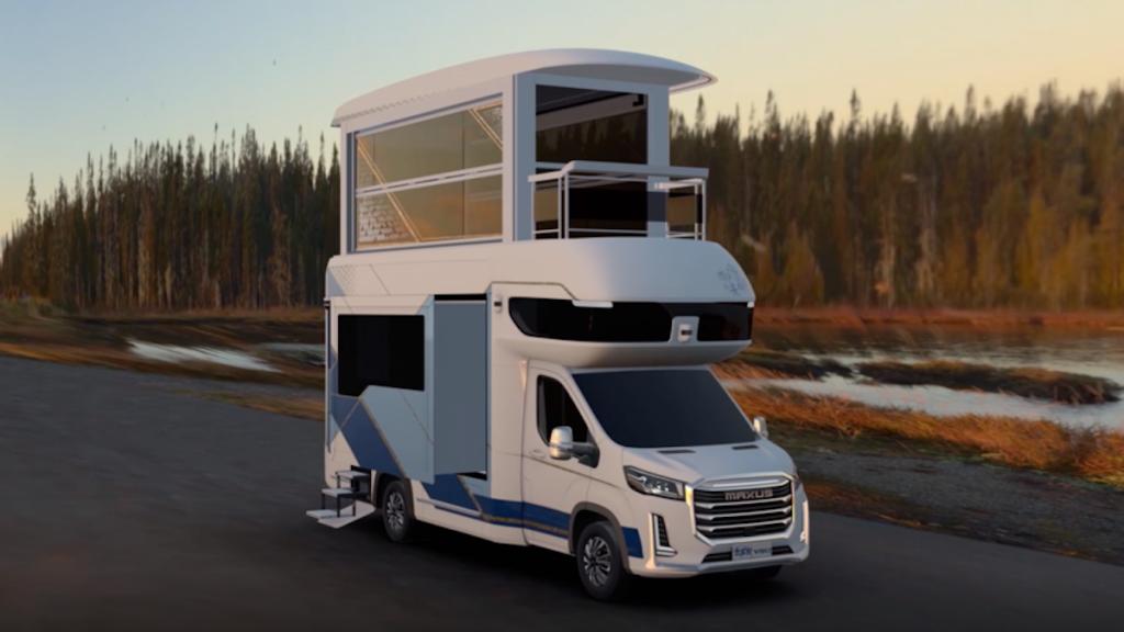 The SAIC Maxus Life Home V90 Villa Edition camper fully opened up