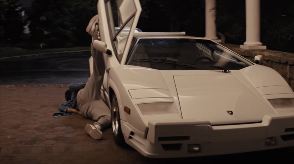 An image of the Lamborghini Countach destroyed for the Wolf of Wall Street movie.