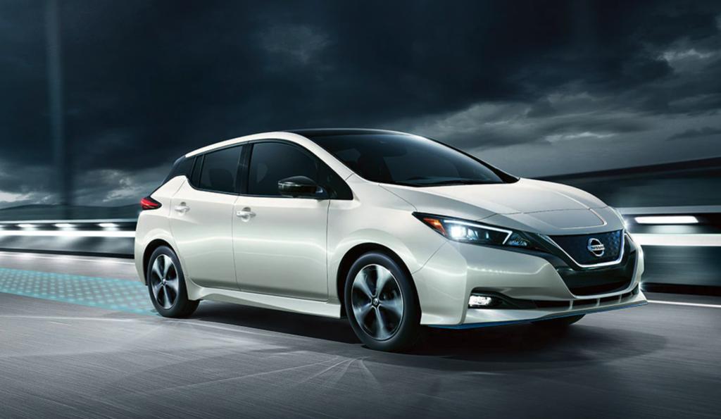 2021 Nissan Leaf on dark highway