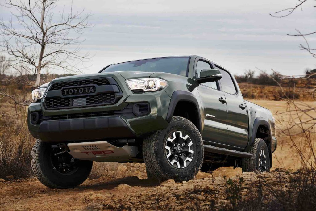 An image of a 2021 Toyota Tacoma with the new TRD lift kit outside off-roading.