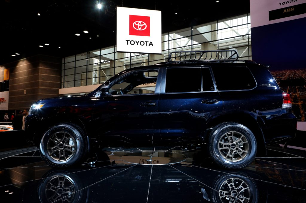 A Toyota Land Cruiser Heritage Edition on display at an auto show