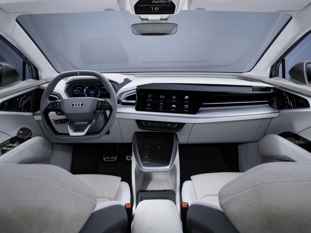 The white and silver interior of the Audi Q4 Sportback e-tron concept