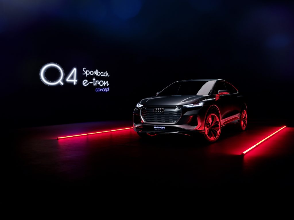 A low-light image previewing the Audi Q4 Sportback e-tron concept in Kinetic grey