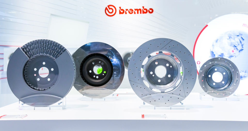 A display of the various rotors offered by Brembo
