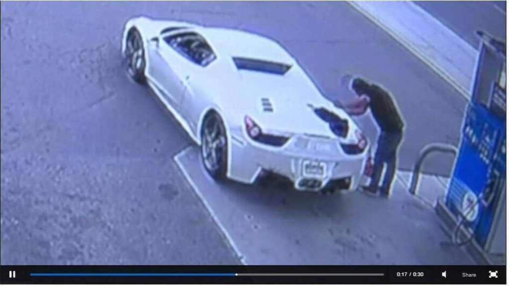 White 2015 Ferrari 458 thief gets caught at gas station