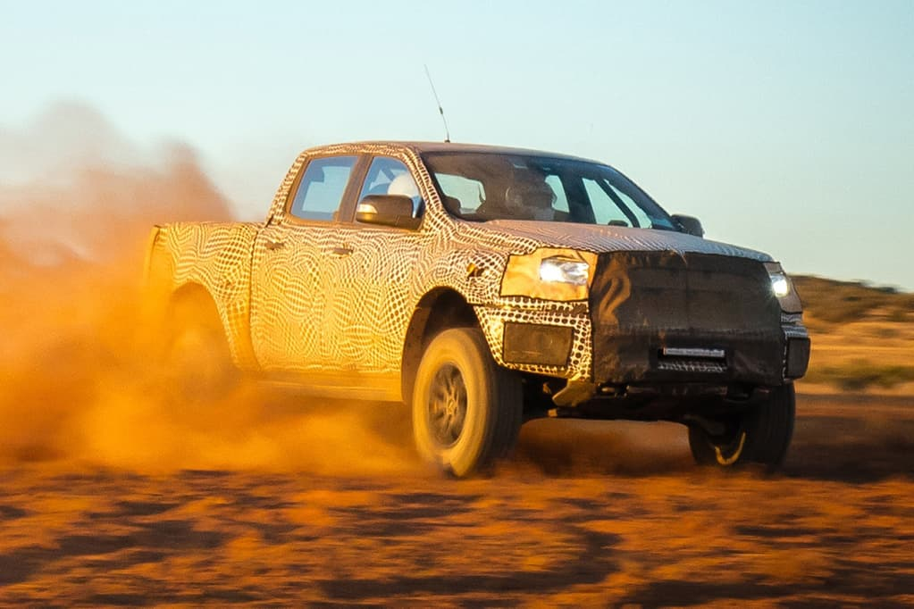 Ford Ranger Raptor being tested in sand
