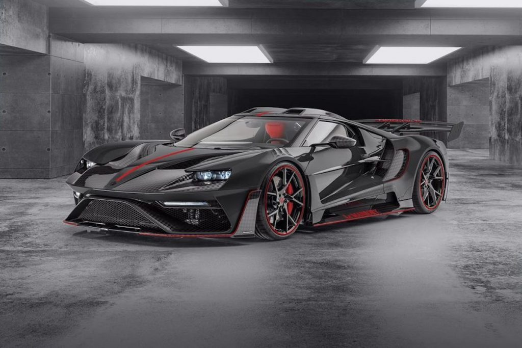 The Le Mansory #2 is in grey, black, and red in a garage