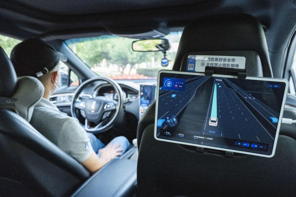 A look inside of a robotically driven taxi
