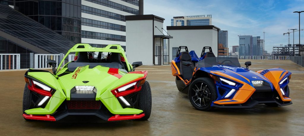 An image of a 2021 Polaris Slingshot parked outside.