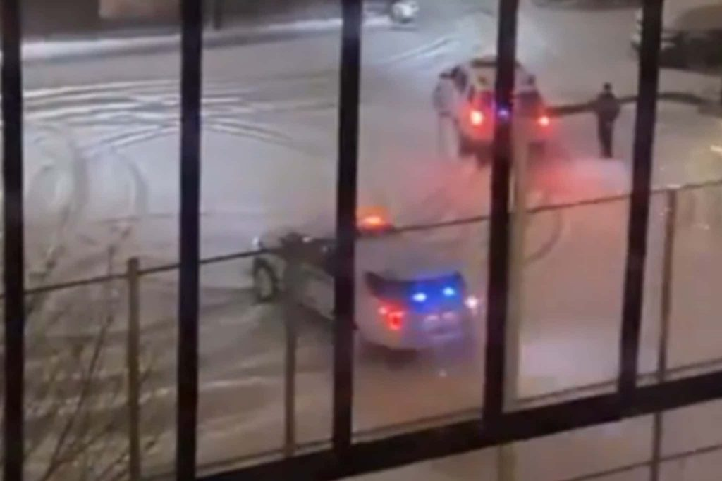 NYPD rip donuts during snow storm in NYC