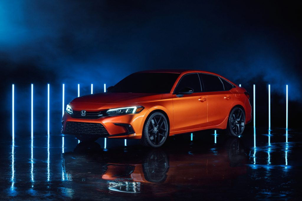 An image of an orange 2022 Honda Civic Prototype