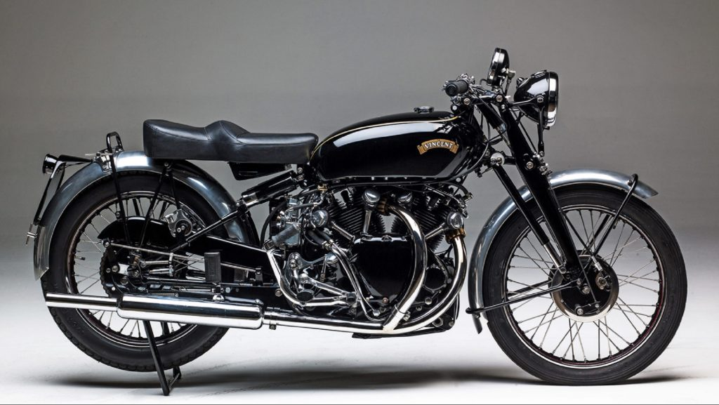 The side view of a black 1949 Vincent Black Shadow