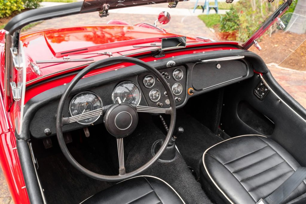 The black seats and dashboard of a TR3A-spec 1960 Triumph TR3