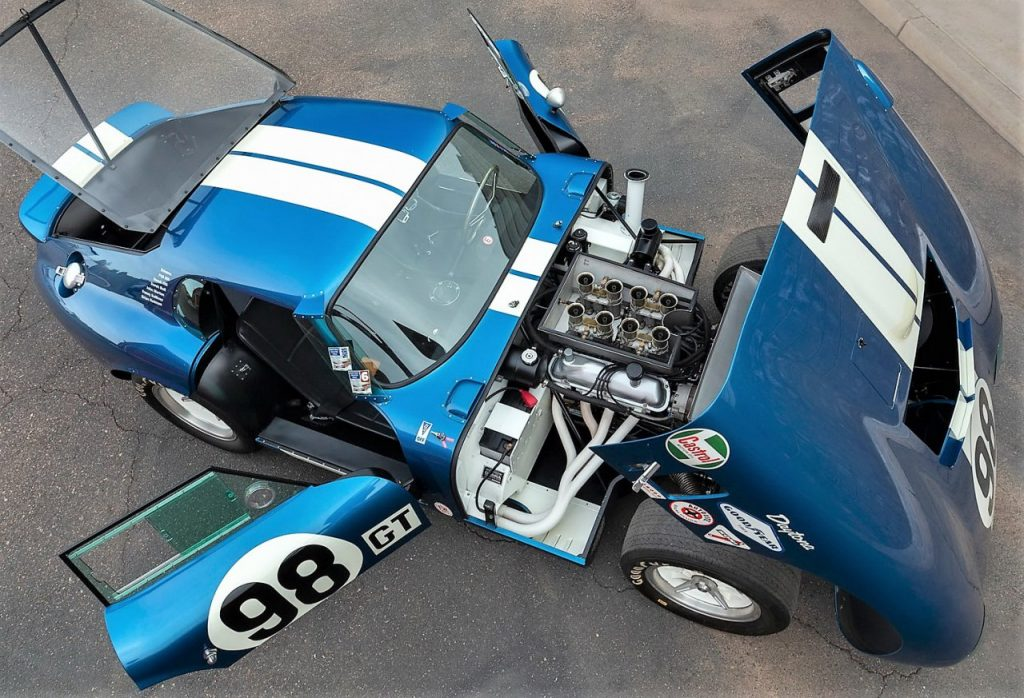 1965 Shelby Daytona coupe with doors, hood, and deck open