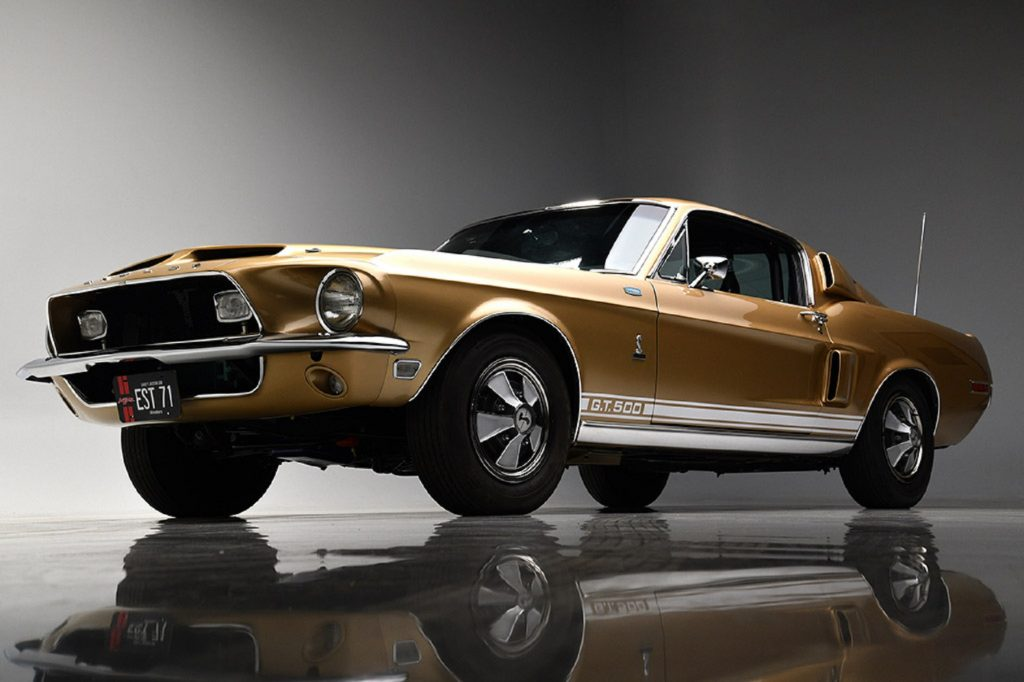 A low-angle shot of the gold-and-white 1968 Shelby GT500 Mustang EFI prototype