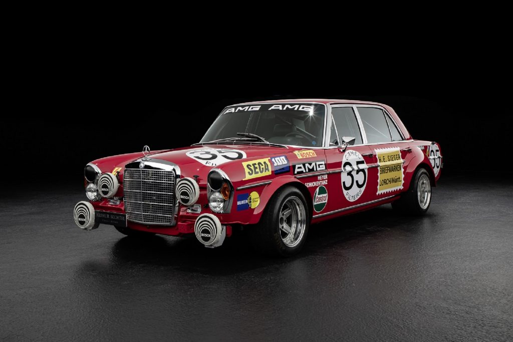 A red 1971 Mercedes 300 SEL 6.8 AMG 'Red Pig' replica