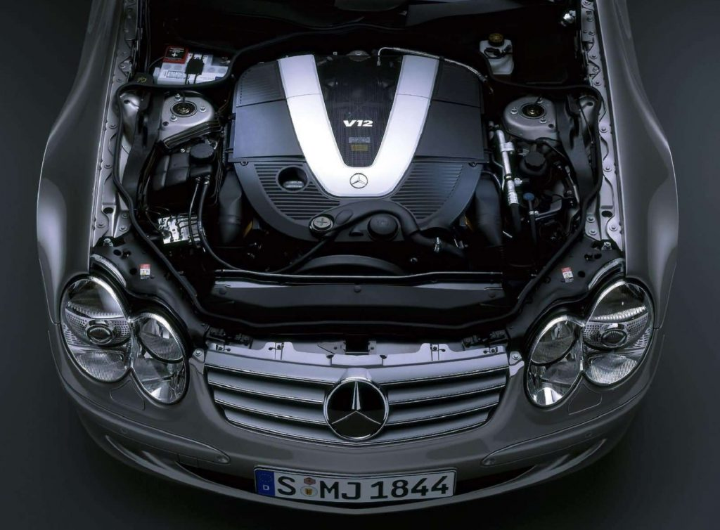 The 2004 Mercedes-Benz SL600's V12 engine in the engine bay