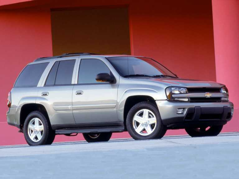 silver 2007 Chevy Trailblazer with red background