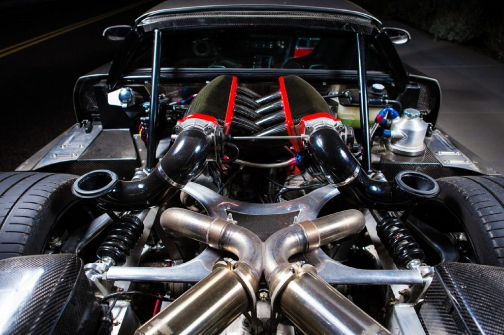 The 2014 Falcon F7's mid-mounted 7.0-liter V8 engine seen from the rear