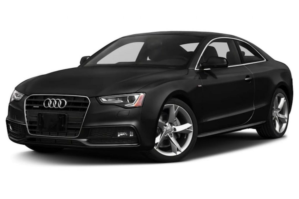 black 2015 Audi A5 against white backdrop