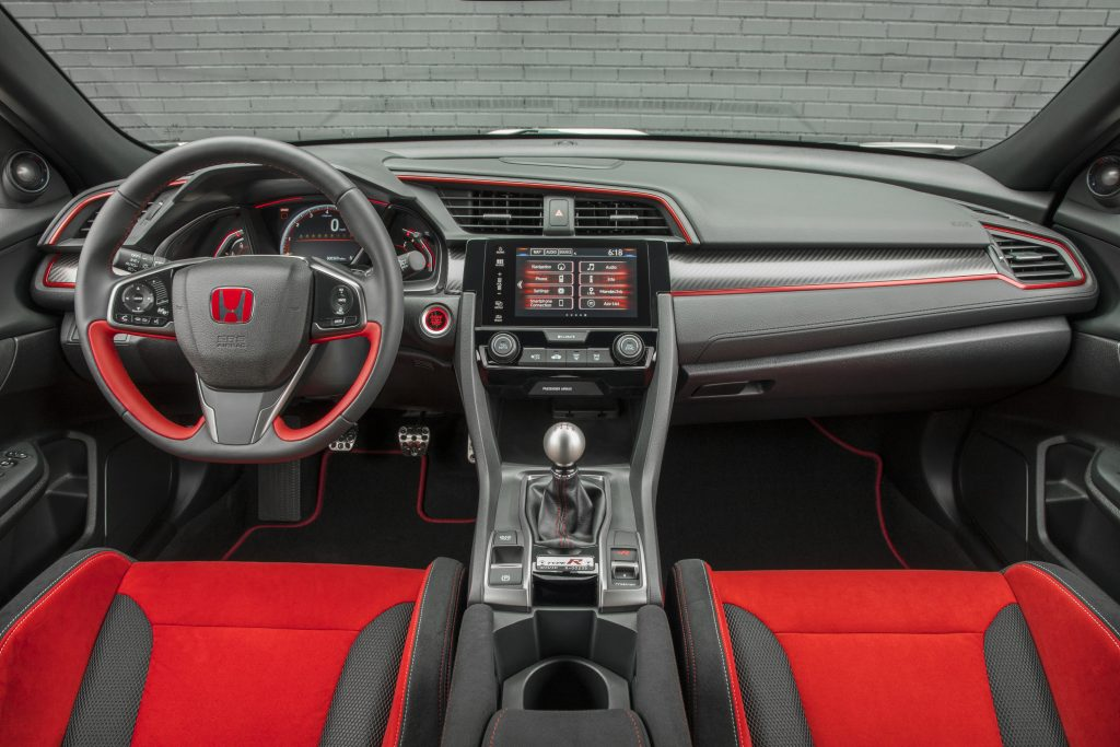 A close-up look at the red and gray interior of the 2017 Honda Civic Type R