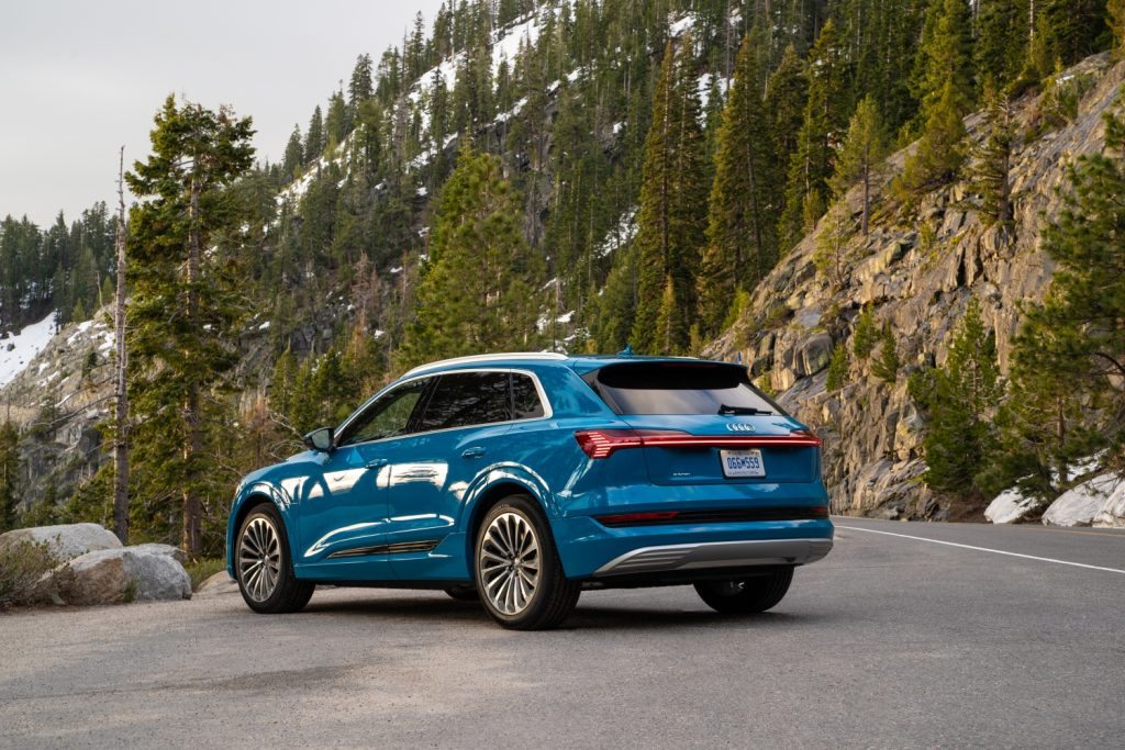 2019 E-tron parked outside, one of the first electric cars built by Audi.