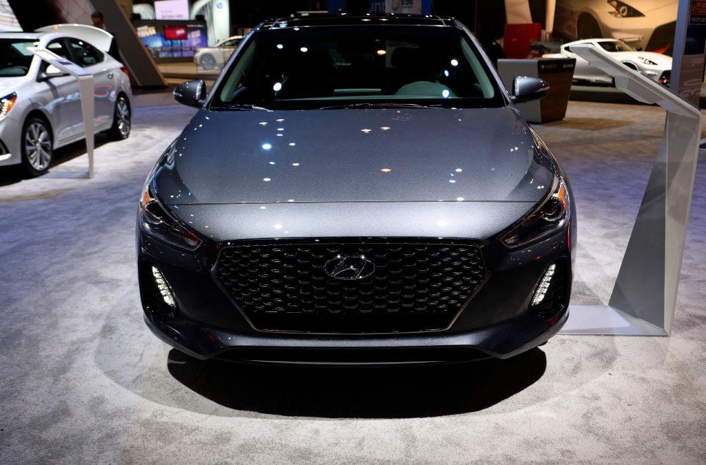 A charcoal grey 2019 Hyundai Elantra GT on display