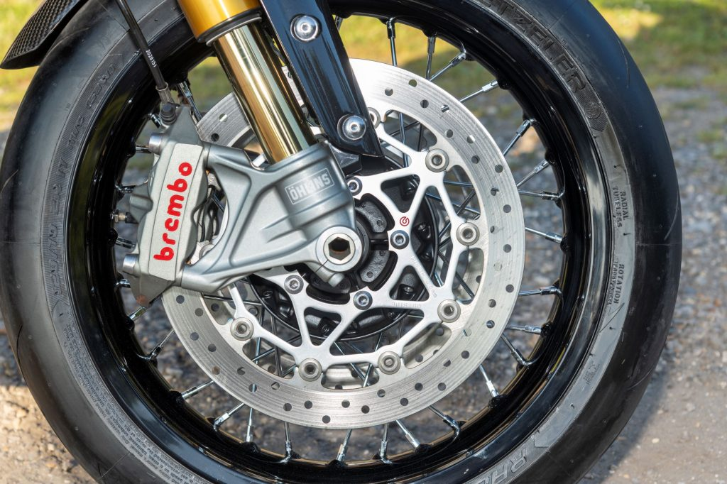 The front Brembo disc brake assembly on a 2019 Triumph Thruxton TFC 1200