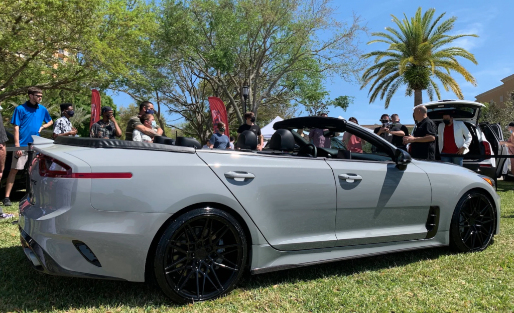 2020 Kia Stinger convertible one-off rear 3/4 view