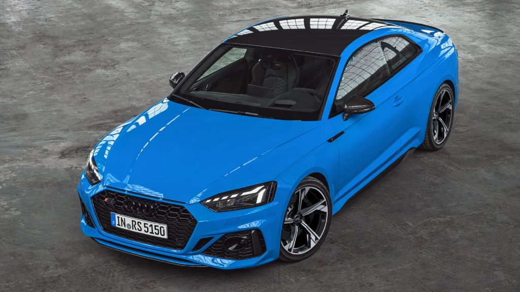 An overhead-angle view of a blue 2021 Audi RS5
