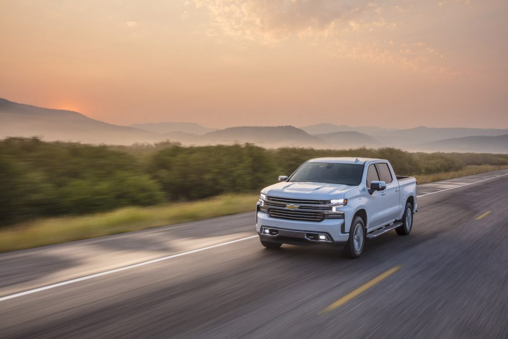 The 2021 Chevy Silverado driving
