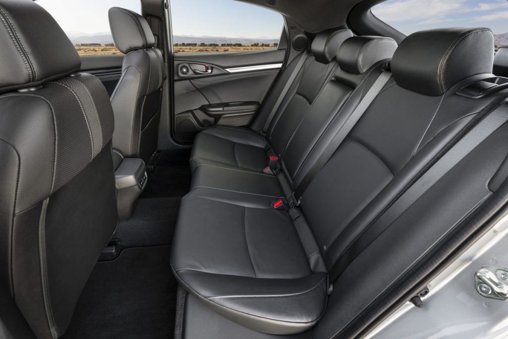 A interior rear seat shot of the 2021 Honda Civic Hatchback Sport Touring