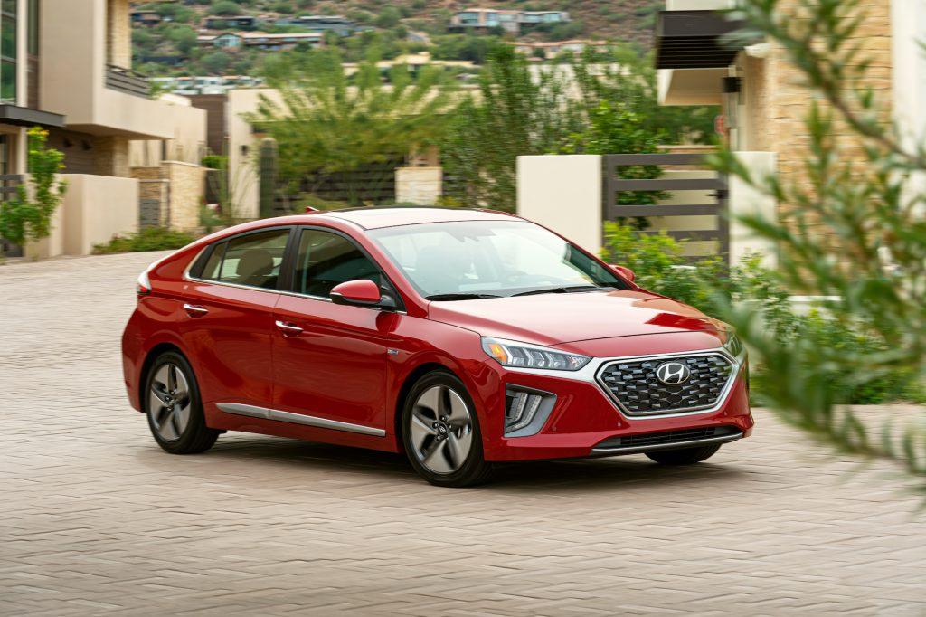 A 2021 Hyundai Ioniq Hybrid shown in red