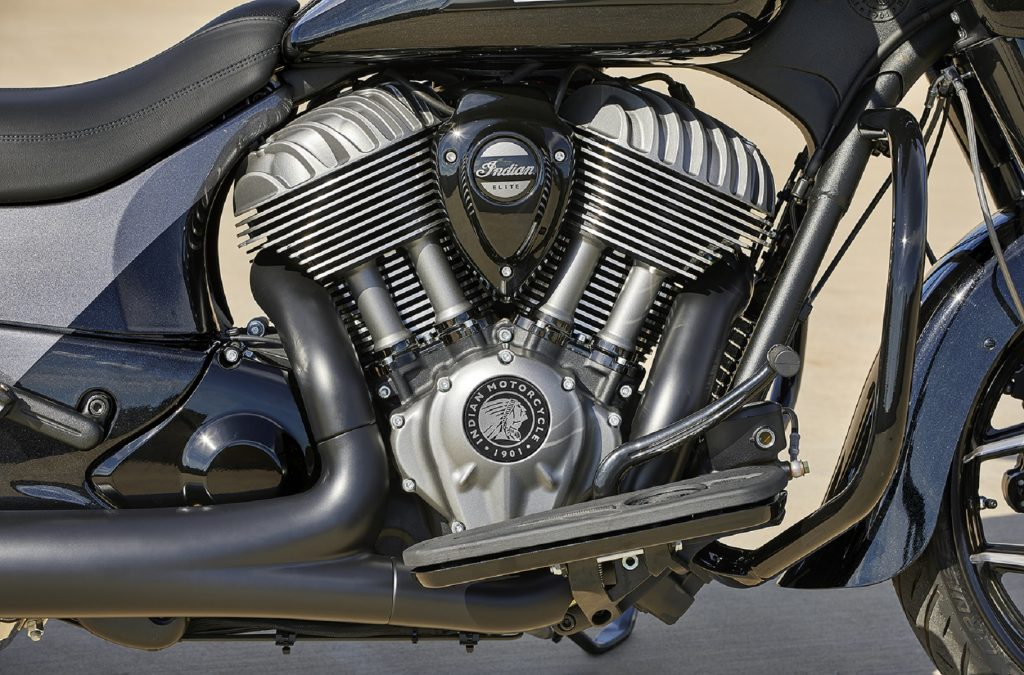 A close-up side view of the 2021 Indian Chieftain Elite's V-twin engine