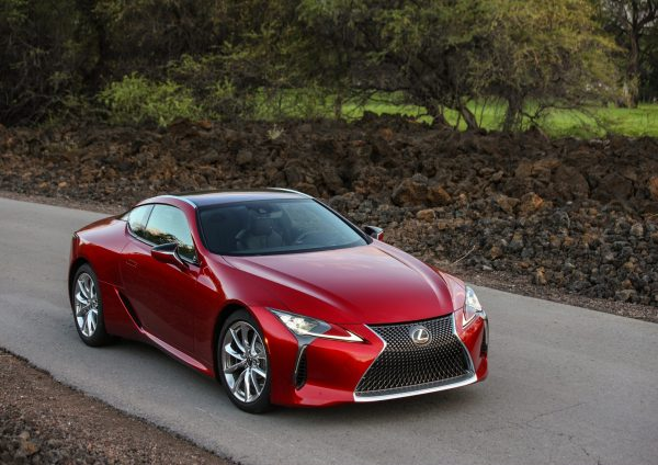 A red lexus lc 500 front view