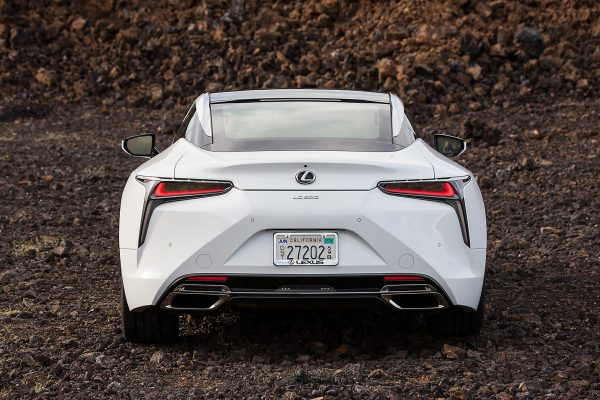 the back end of a white lexus lc 500