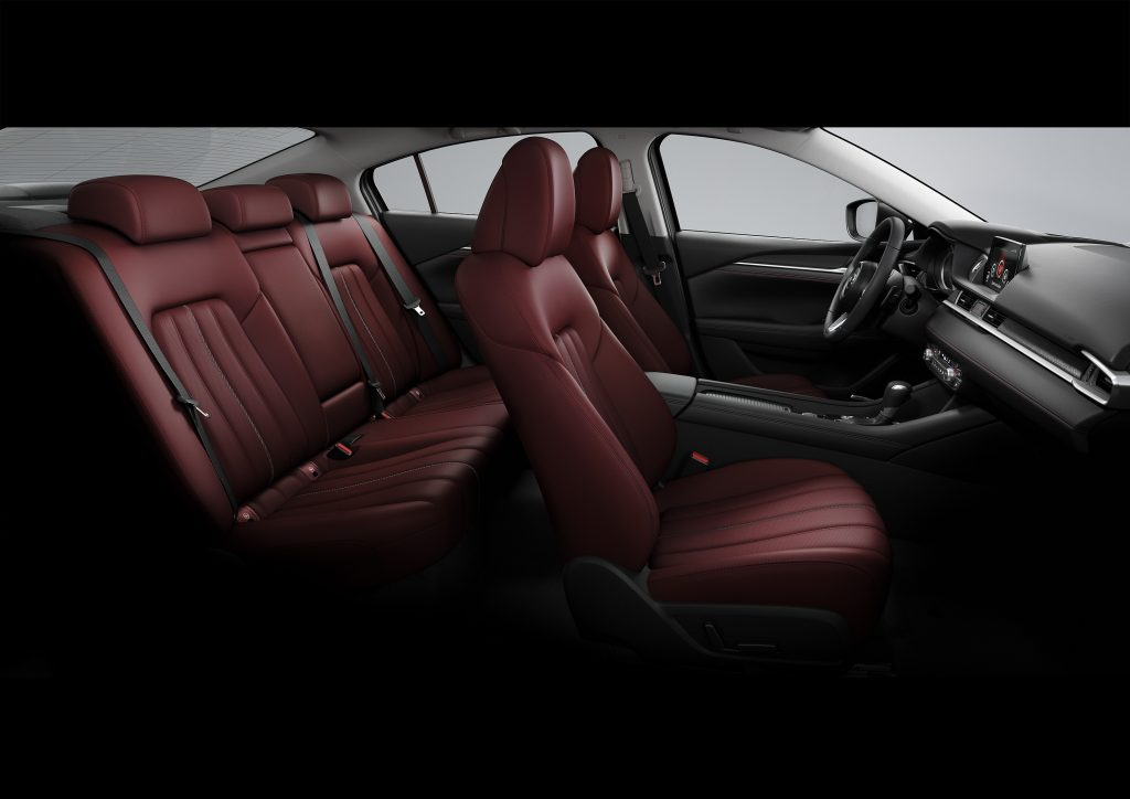 A look inside the interior of the 2021 Mazda6 Carbon Edition, which features red leather seats